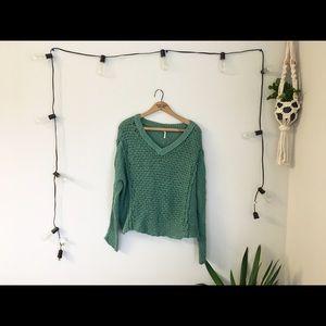 Free People green Knit Sweater